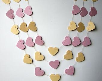 Pink & blush garland, Paper heart garland, Wedding decor, Pink cream garland, Heart garland, Pastel baby shower, Nursery decor, KCO-3043