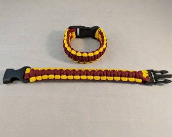 Maroon and Gold Paracord Bracelet