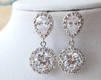 Elli Luxe - Wedding Bridal Teardrop Earrings, Bridesmaids, Cubic Zirconia Bridesmaid Earrings, Bridal Jewelry, weddings Bridal Accessories
