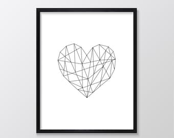 Geometric Heart Print, Heart Printable, Heart Art, Minimal Geometric Printable, Minimalist Print, Minimal Print, Black and White