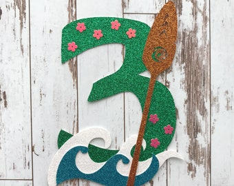 Moana Goddess Te Fiti inspired Number 3 - Glitter Die Cut/Party Decoration/ Embellishment/Cake Topper