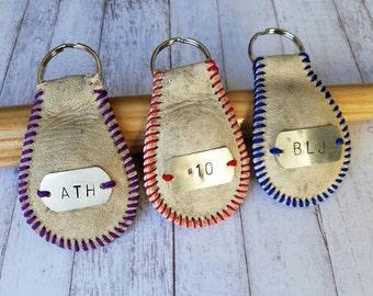 Baseball Keychain, Coach gift, Baseball Fan, luggage tag, custom baseball keychain