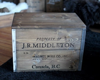 """Wooden Crate cargo Crate Table Storage Box """"Middleton"""" Steel"""