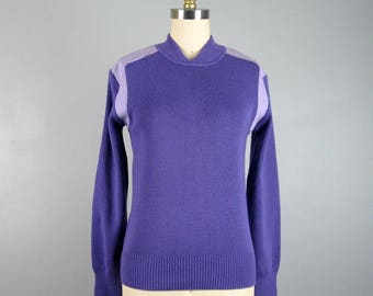 Vintage 1960s PURPLE Mod Sweater 60s Colorblock Knit Pullover Ski Sweater Size 36/M