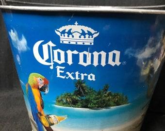 Vintage Bar Corona Extra Bucket Galvanized