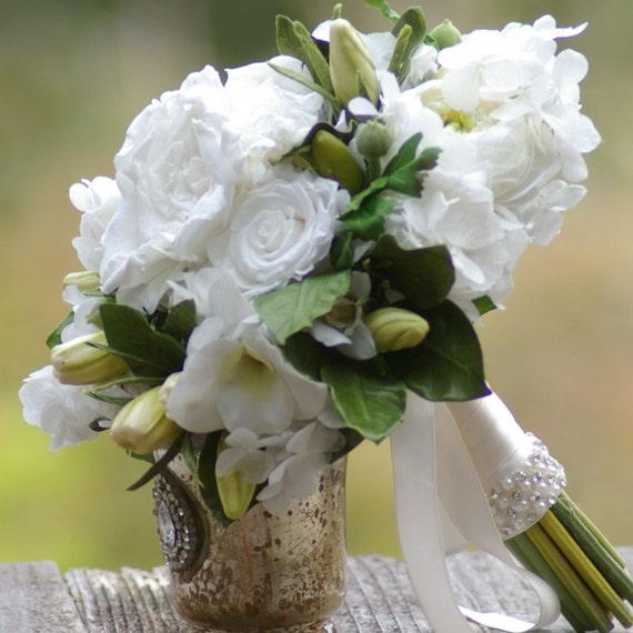 Gardenia and Rose Bouquet Real touch Preserved Flowers