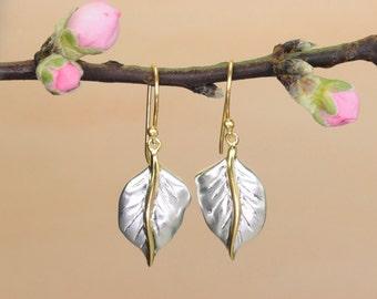 Sterling Silver & Gold Leaf Drop Earrings / Sterling Silver Earrings / Gold Vermeil Earrings