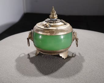 Vintage Tibetan Asian Style Silver Green Jade Raised Relief Etched Lions Frog Finial Decorations Lidded Incense Burner Trinket Jewelry Box
