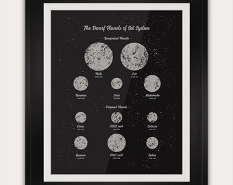 The Dwarf Planets of the Solar System - Space Astronomy Inspired Decor - Office Wall Art - 11x14 Inches - Handmade Screenprint Poster Art