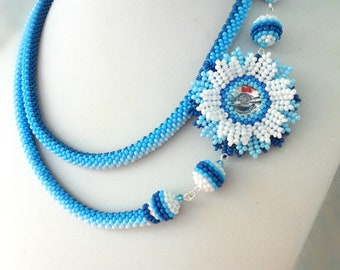 Crochet necklace Extra long necklace Blue and white Beaded Jewelry Beaded flower Blue flower Handmade flower Beautiful gif tFor her