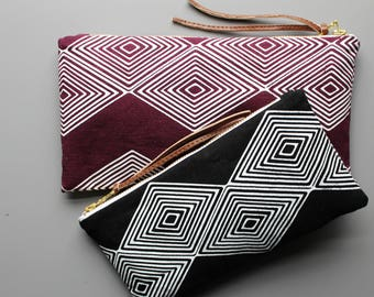 Granada Linen Pouch. Geometric design. makeup bag, pencil bag. travel accessories. gifts for her. southwestern style accessories