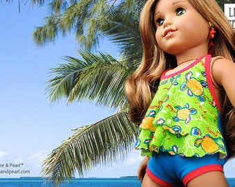 L&P #1057: Halter Swimsuit with Tiered Drape and Halter Swimdress for 18 inch dolls — flattering, trendy and easy-to-make!