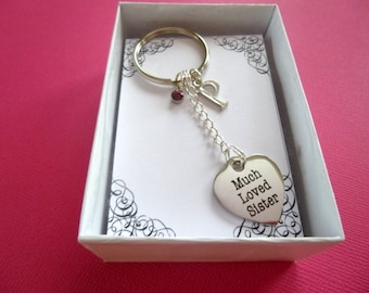 Much Loved Sister Personalized Birthstone Key Chain, Personalized Sister Key Chain, Personalized Birthstone Sister Key Ring, Gift, K22