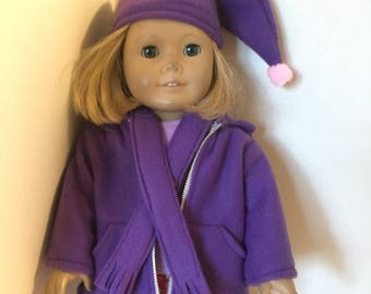 Fleece jacket with scarf and hat for 18 inch doll