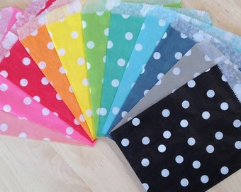 25 Navy Polka Dot Paper Bags - Candy Party Favor Packaging Supplies