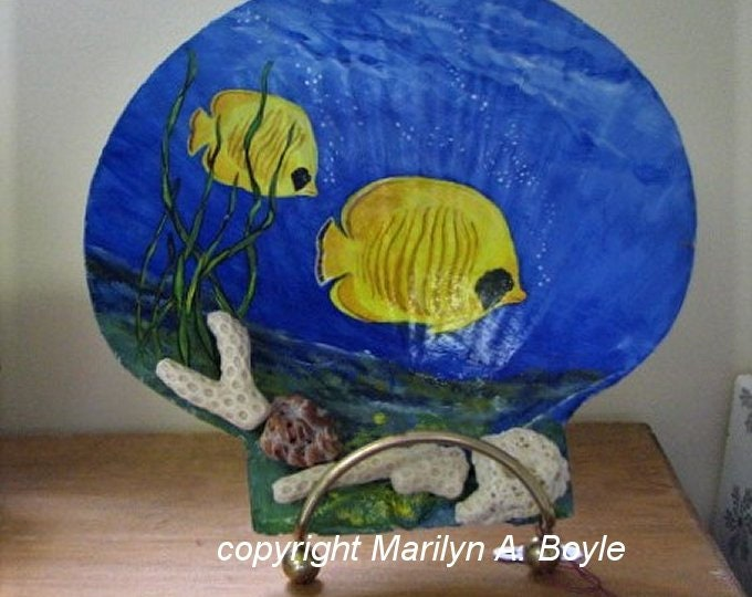 SEASHELL - HAND PAINTED; original art, under the sea, coral, seashells, brass stand, back painted, one of a kind, shelf and desk art