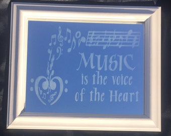 Etched mirror, music quote, musician gift