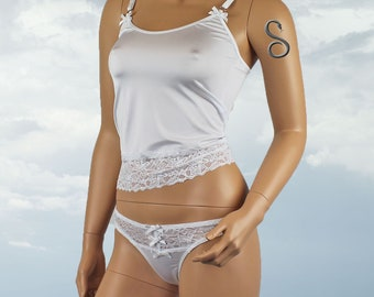 Womens Camisole Top and G string Thong White