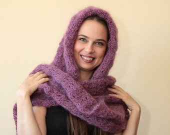 MOHAIR HOODED SCARF Extra Long Hand Knit Purple Scarf with Hood by Solandia, Christmas gift