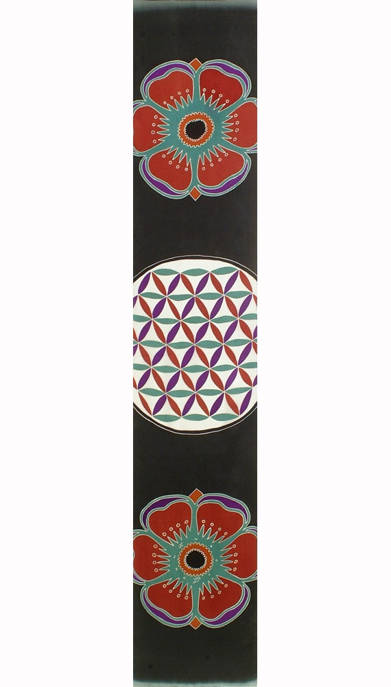 Flower of Life colorful sacred geometry mandala silk scarf