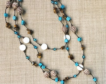 Beaded Necklace, Long Necklace, Rustic, Boho Necklace, Bohemian Jewelry, Gypsy Jewelry, Earthy Beads, Turquoise, Brown, Knotted