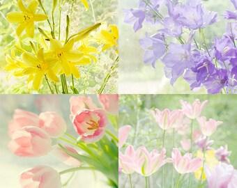 Floral Art Print Set,  Flower Photography, Tulip Print, Daylily Print,  Shabby Chic Decor, Floral Wall Art, Nursery Decor