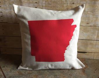 Arkansas Throw Pillow Cover, Throw Pillow, Arkansas, Canvas Pillow Cover, Canvas, Pillow Cover, State Pillow, Throw Pillow Cover, Envelope