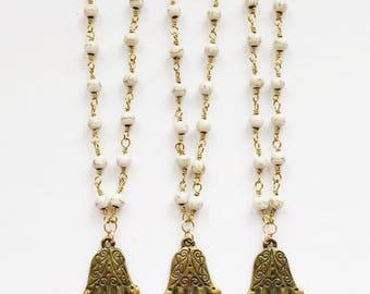 Hamsa Pendant on Magnesite Chain