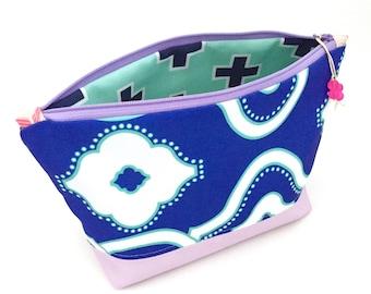 Blue Woven Chain Make up Bag, Geometric Zipper Pouch, Recycled Canvas Bag, Diaper Bag Organizer, Cosmetics Bag + Glass Bead Tassel, Handmade