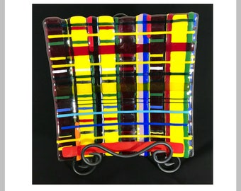 Glass Fused Contemporary Multi-Colored Plaid Serving Platter