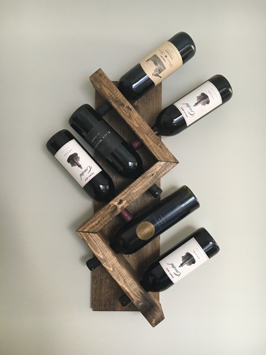 Zig zag wine rack z geometric rustic wood wine bottle display - Wine rack shaped like wine bottle ...