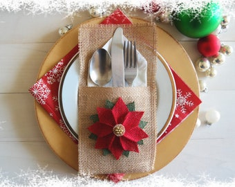 Burlap Utensil / Silverware Holder with Poinsettia Flower / Christmas Holiday Utensil Holder / Christmas Table Decor / Christmas Dinning