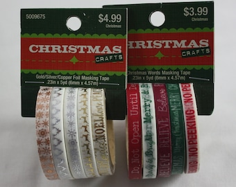 Christmas Washi Tape Set of 5 Skinny Rolls  Christmas Words Red Green Silver Gold Copper Foil No Peeking Merry Christmas Joy Peace Noel