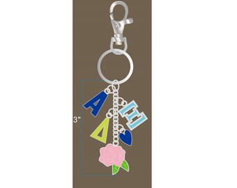 Alpha Xi Delta Keychain / A Zee D Keychain / Big Little Gift / Sorority Jewelry /AXD Gifts
