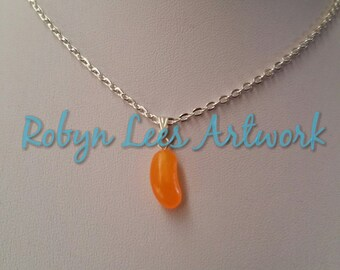 Small Jellybean Jelly Bean Necklace in Orange, Yellow, Blue, Pink or Green on Silver Chain