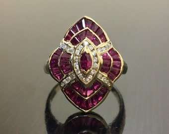 18K Yellow Gold Art Deco Diamond Ruby Engagement Ring - 18K Gold Art Deco Ruby Diamond Wedding Ring - 18K Diamond Ruby Ring - 18K Ruby Ring
