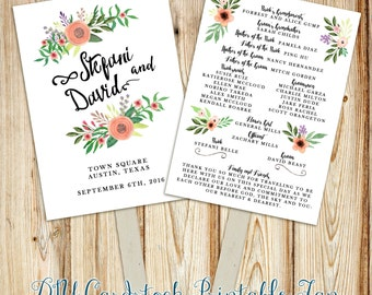 Printable Wedding Program Fan Digital File- Double-Sided Program Fan~ Watercolor flowers, rustic florals, hand script font calligraphy
