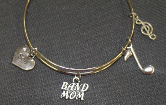 Band Mom Expandable Bangle Charm Bracelet; Customizable Charm Bracelet; Gift For Her; Band Grandmother; Music Charms; Gift For Mom