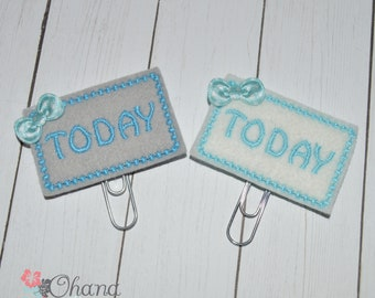Today Blue on White or Gray Planner Clip | feltie | paperclip | EC | Kikki K | Filofax | Paper Clip |