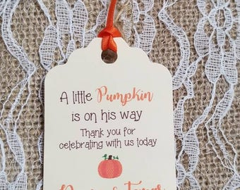 "Personalized Favor Tags 2.5""Lx1.8""w, Baby Girl Shower  tags, Thank You tags, pumpkin baby shower, fall baby shower, little pumpkin"