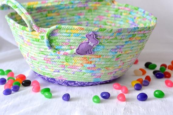 Girl Easter Basket, Handmade Quilted Easter Bucket, Easter Decoration, Artisan Easter Egg Hunt Basket, Girl Room Decor, Nursery Decor