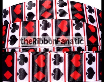 "5yds 7/8"" Suit Deck of Cards Spades Hearts Clubs Diamonds Red Black White Grosgrain Ribbon"