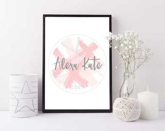Baby girl personalised print - New baby girl gift - Personalized baby girl pink print - Custom baby wall art - Modern nursery decor wall art