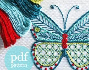 Butterfly Embroidery Kit, Embroidery Pattern Kit, pdf, Crewel Embroidery Kit, Cairns Birdwing Butterfly, digital pattern kit, Prairie Garden