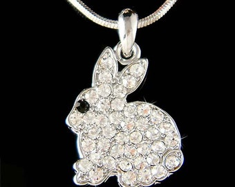 Swarovski Crystal Holiday Easter Bunny Rabbit Hare Jewelry Pendant Necklace Christmas Best Friend Gift New