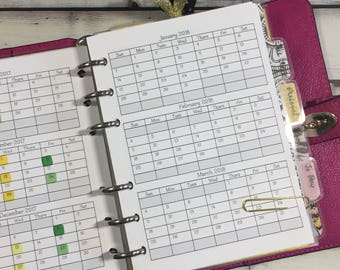 A5 2018 Folding Yearly Planner Insert