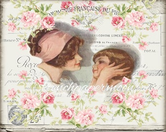 Shabby Digital Harrison Fisher Mother and Child, All mine, French Graphics, Large Craft Image, Graphic Transfer