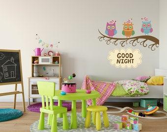 Goodnight Owls Wall Decal, Goodnight Owls Sticker, Kid's Room Decor, Living Room Decor, Bedroom Decor