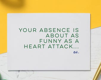 Get Well Soon: Heart Attack Card, Funny Illness Card, Heart Surgery Gift, Heart Bypass, Get Well Soon Card, Serious Illness Card, Funny Card