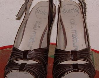 vintage 70's glam rock Dolcis dolly mixture brown peep toe platform shoes